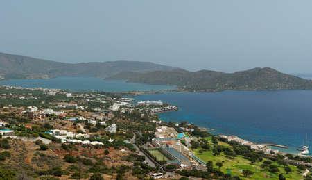 View on Elounda coastline and resorts. Mirabello gulf. Crete. Greece