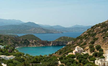 Smal colorfull bay near Istron. Mirabello gulf. Crete. Greece