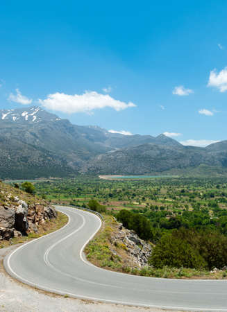 Picturesque road from Lasithi Plateau. Crete. Greece photo