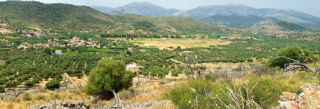Panoramic view on mountain village in suuny day. Crete. Greece