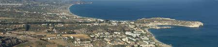 Tsambika bay in sunny day  Panoramic view  Rhodes  Greece