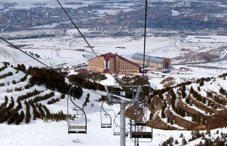 Mountain ski resort Palandoken Turkey - Erzurum city background