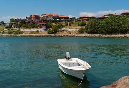 White boat in the sea  Old Nessebar  Bulgaria