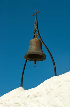church bells: Ancient bronze bell in Tsambika monastery  Rhodes  Greece