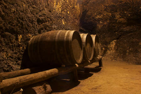Row of wine wooden tuns underground in bulgarian winery