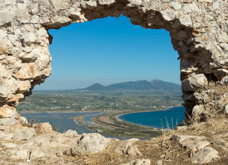Lagoon of Divari  Gialova  in Messinia prefecture through Old Navarino castle ruins Stock Photo