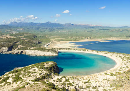 peloponnese: Voidokilia bay from a high point of view  Messinia  Peloponnese  Greece