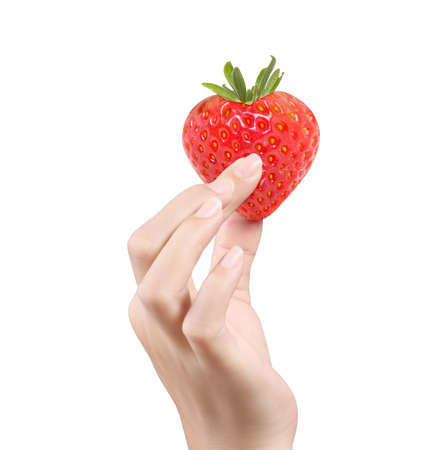 Fresh strawberries Heart  in hands isolated white background Stock Photo - 15506753