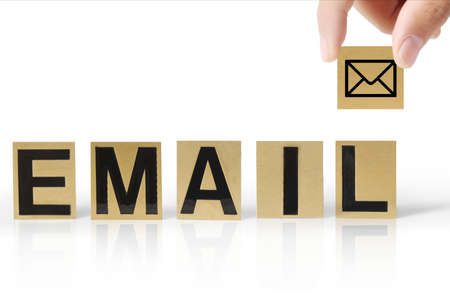 Hand and word email on white background photo