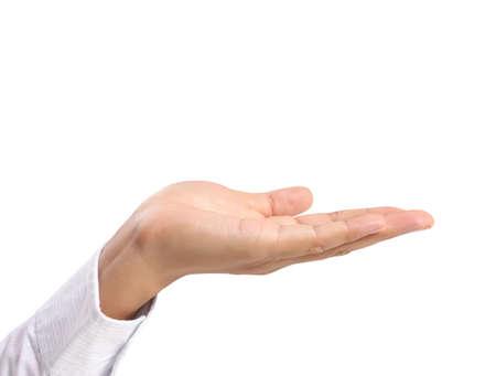 manos abiertas: Palma abierta gesto de la mano masculina Foto de archivo