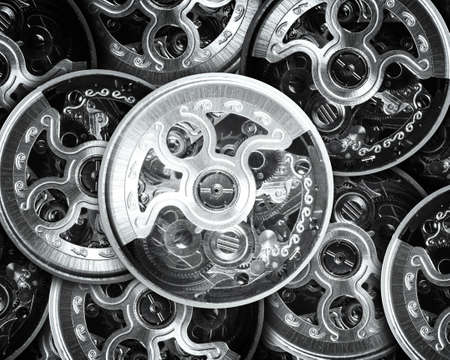 歯車とポケット時計のメカニズムの原動力 写真素材