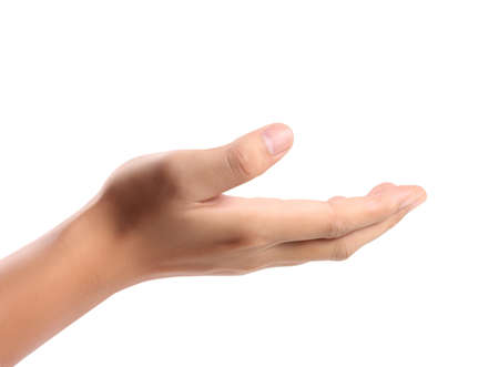 hands cupped: Open palm a hand gesture