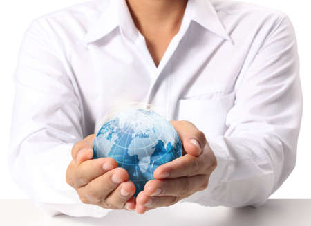 Globe ,earth in human hand  photo