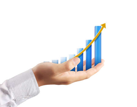 financial gains: Graph on hand on white background Stock Photo