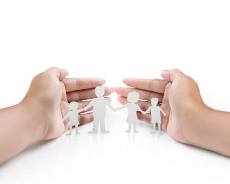 manicured hands: Beautiful woman open hands and Group of paper chain people holding hands