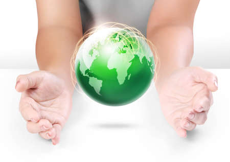 save the environment: Globe ,earth in human hand Stock Photo