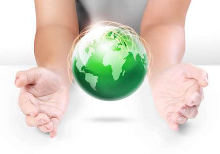 save earth: Globe ,earth in human hand Stock Photo