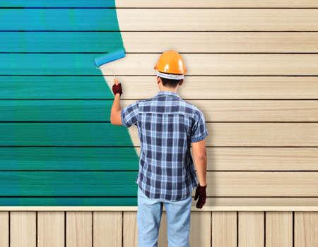 painting avd paint brush house on wood photo