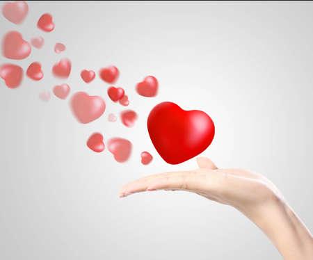 dando la mano: Corazón en las manos aisladas