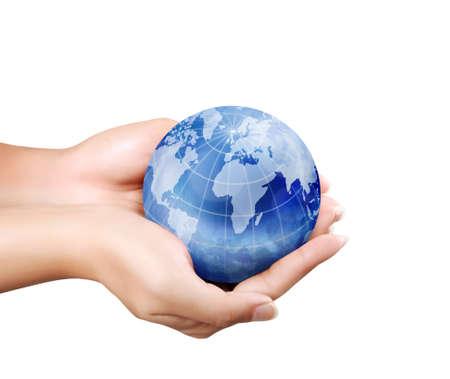 paz mundial: Globo terráqueo, tierra en la mano del hombre
