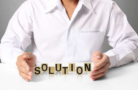 word solution in hand, businessman  photo