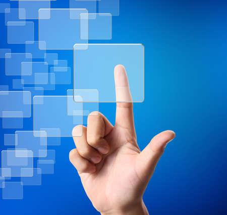 hand pressing a touchscreen button photo