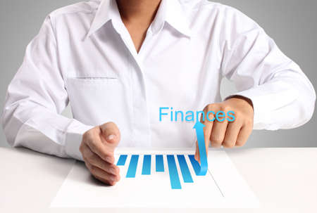 graph of paper in hand businessme photo