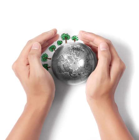 sustentabilidad: Globo terr�queo, tierra en la mano del hombre