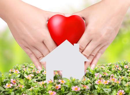 手の花の背景および家の中心