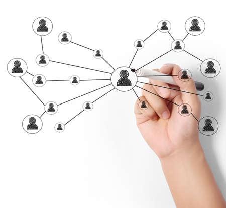 trabajo social: Hombre de negocios de dibujo de la red social