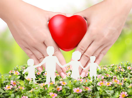 Heart in a hands  floral background  photo