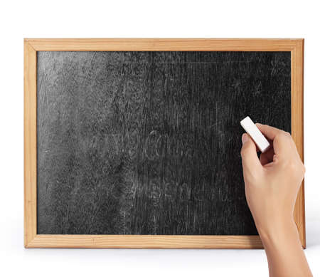 hand drawing on blank blackboard  photo