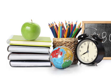 school time: Many Colorful stationery of an assortment  Stock Photo