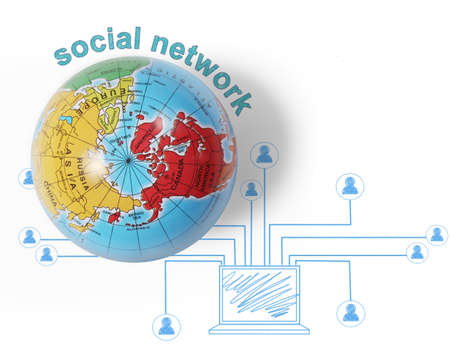 social network and  globe on white background  photo