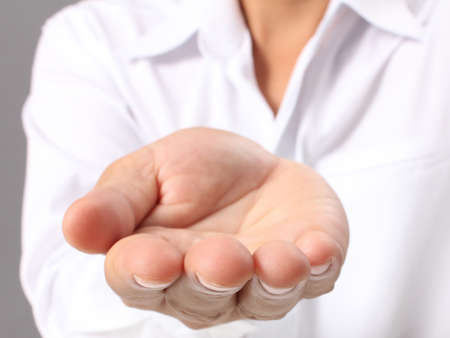 Open palm hand gesture of male hand  Stock Photo - 16542529