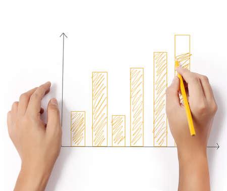 ビジネスの男性は、グラフの描画 写真素材