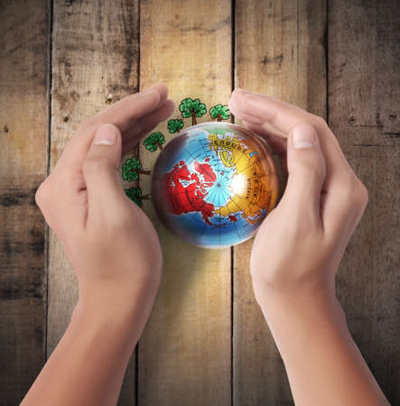 Globe ,earth in human hand  on a wood Stock Photo
