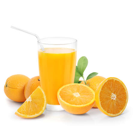 orange juice: Orange juice and slices isolated on white