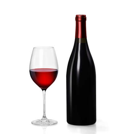Glass of red wine and a bottle over white background