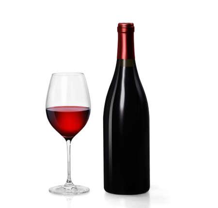 botella de licor: Vaso de vino tinto y una botella sobre fondo blanco Foto de archivo