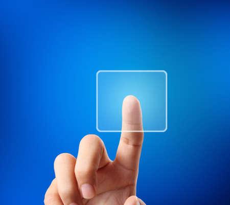 hand pressing touchscreen button photo
