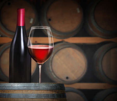 ワインの樽でワインのグラス 写真素材