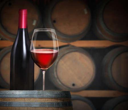 Wine glass on wine barrels