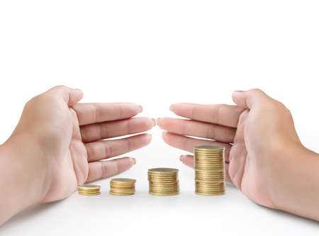 Hand put coin to money ,Business idea  Stock Photo - 17901711