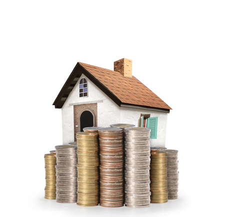 economic rent: Mortgage concept by money house from coins