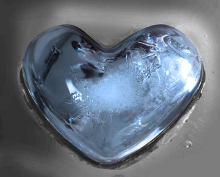 icy heart on mirror table  photo