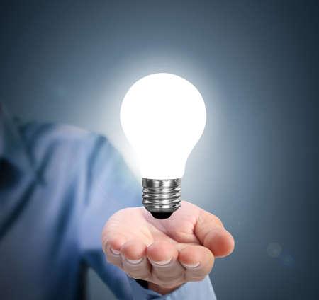 Ideas light bulb in a hand  photo