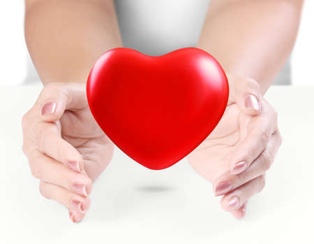 Heart in the hands isolated on white background  photo