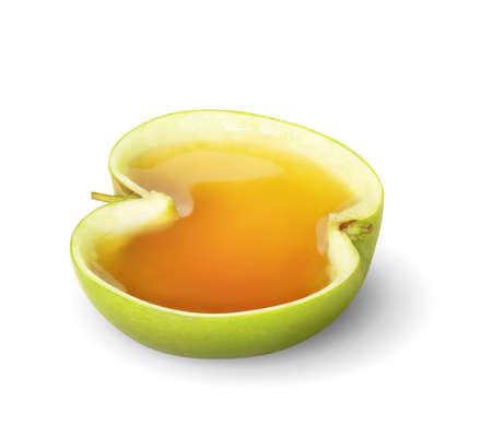 Apple juice splashing isolated on a white  photo
