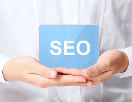 modern SEO buttons in the hand  photo